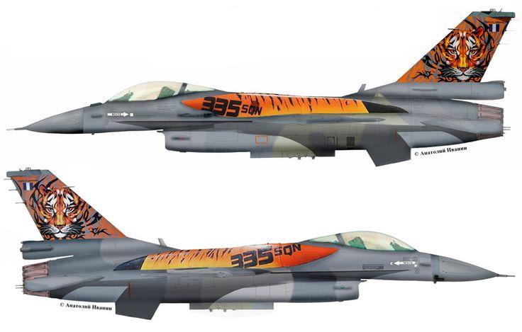"""F-16C Block52 #005 (s/n 06-0005, c/n WJ-5) from 335 Mira """"Tigris (Tigers)"""", Hellenic Air Force - HAF. TigerMeet 2016. June 2016."""