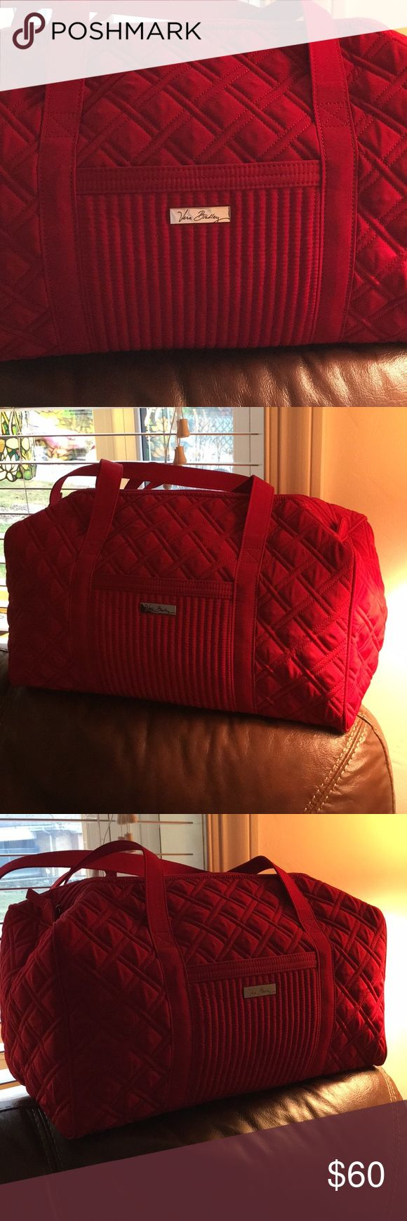 Vera Bradley duffel bag New. Never used. Beautiful red quilted bag. Zip closure. Measures 18 inches long. 8 inch diameter and 9 inches high. Don't have original tag. Vera Bradley Bags Travel Bags