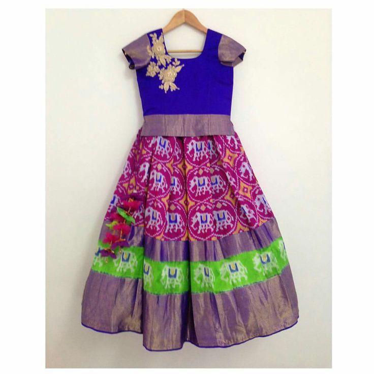 Ikkat Pattu Lehenga For Kids Kids Wear Pinterest For