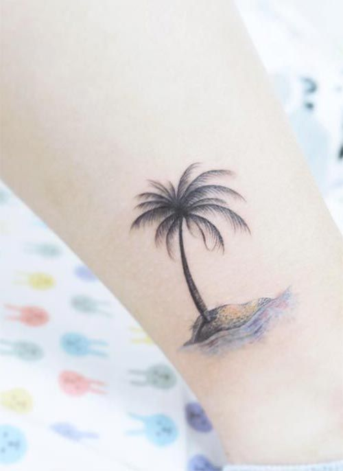 Ankle Tattoos Ideas for Women: Palm Tree Ankle Tattoo
