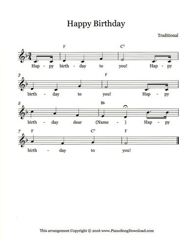 Happy Birthday, free lead sheet to print from Piano Song Download.