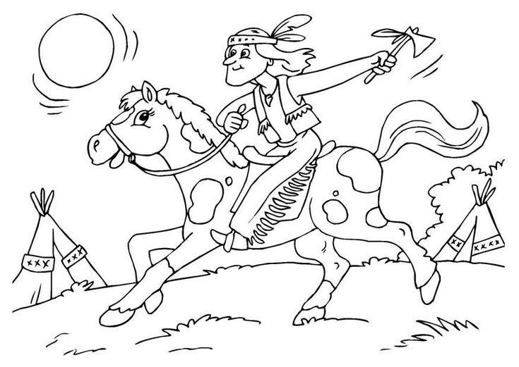 ausmalbilder indianer pferd