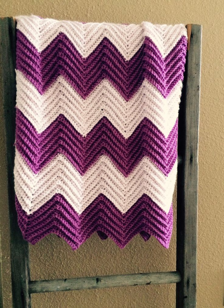 A personal favorite from my Etsy shop https://www.etsy.com/listing/223278588/chevron-baby-blanket-in-iced-violet-and