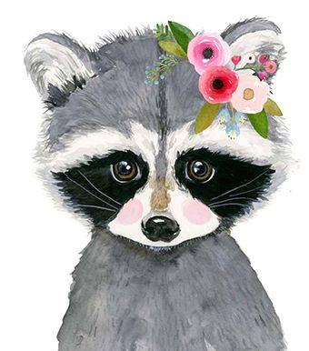 Woodland nursery nursery print set of 3 raccoon painting