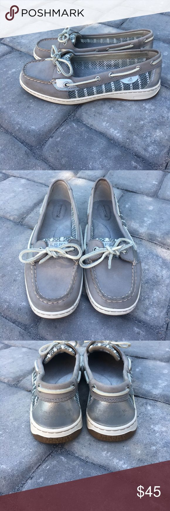 Women's SPERRY gray, silver &white mesh Top Siders Women's SPERRY gray, silver &white mesh Top Siders. Gray and white mesh sides. Silver accents and hardware near laces. Barely used. Maybe worn once. EUC!! Super comfortable just too big for me. Sperry Top-Sider Shoes