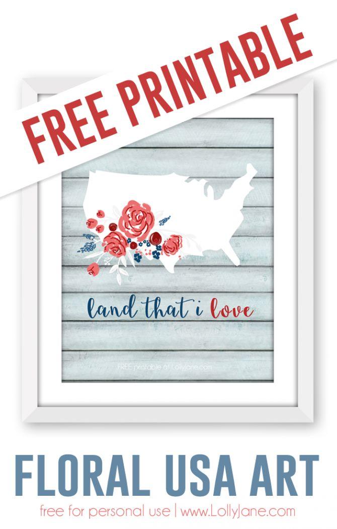 FREE Printable floral USA art  via lollyjane.com