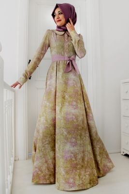 Gamze Polat Lila Sahra Elbise