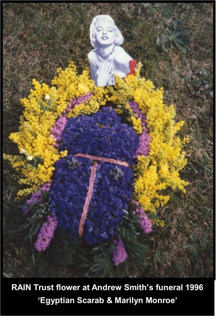 Funeral flowers from Andrews HIV/AIDS social voluntary support group, The RAIN Trust. An Egyptian Scarab beetle & Marilyn Monroe both important icons to Andy.  #LGBT  http://www.lgbthistorycornwall.blogspot.com