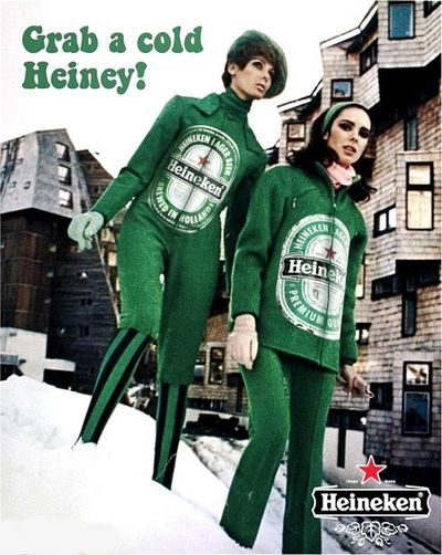 Cheeky vintage Heineken beer ad  Grab a cold Heiny! From the 1960s.