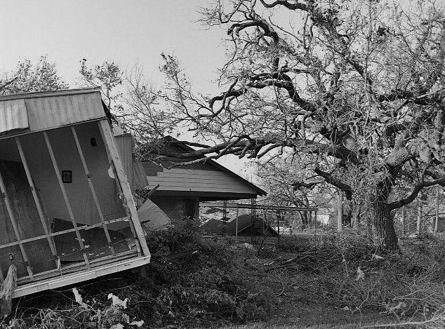After Hurricane Rita, Cameron Parish, Louisiana. B&W film, medium format. Processed and printed in my darkroom. Photographer: Valerie Smith