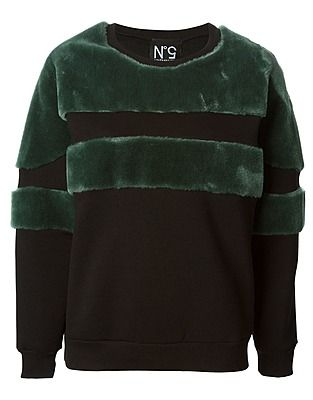 Nineminutes Sweatshirts, Price: GBP 106.87, contrasting faux-fur stripes sweatshirt