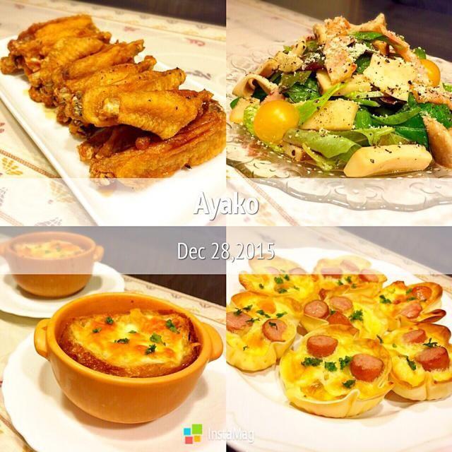 最近、オニオングラタンスープがお気に入り♡美味しい〜 - 130件のもぐもぐ - 手羽中のピリ辛揚げ、ベーコンとエリンギのイタリアンサラダ、オニオングラタンスープ、ソーセージとトマトのキッシュ by ayako1015