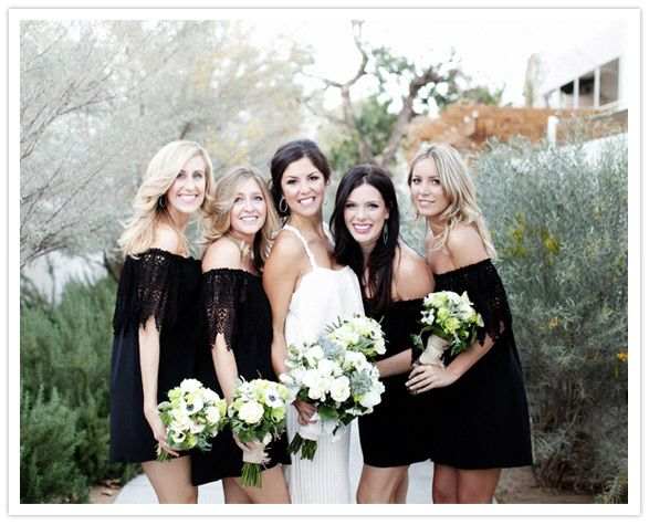 Black bridesmaids dresses for a desert wedding: Stone Cold Fox, Black Bridesmaids, Black Dresses, Wedding Ideas, Wedding Dresses, Weddings, Bridesmaids Dresses, Black Bridesmaid Dresses, Wedding Party