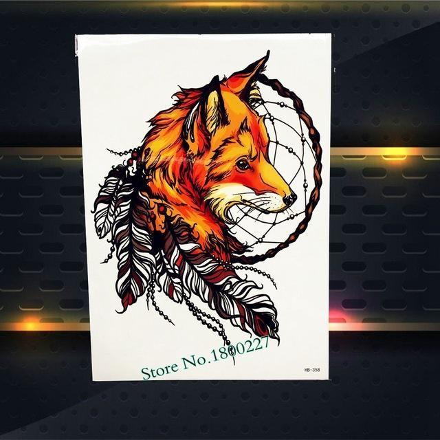 Indian tribal Warrior Waterproof Tattoo Sticker Fake Tattoo Body Arm Art Wolf Flash Temporary Tattoo