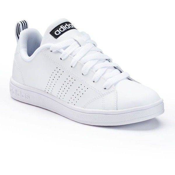 Adidas Advantage Women's Sneakers ($55) ❤ liked on Polyvore featuring shoes, sneakers, white, striped sneakers, cushioned shoes, adidas, white rubber shoes and adidas shoes