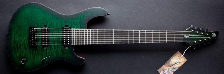 Mayones  Regius 8 Transparent Dirty Green Burst Flamed Maple top Ebony Fretboard ABM Bridge Black-Pearloid Binding