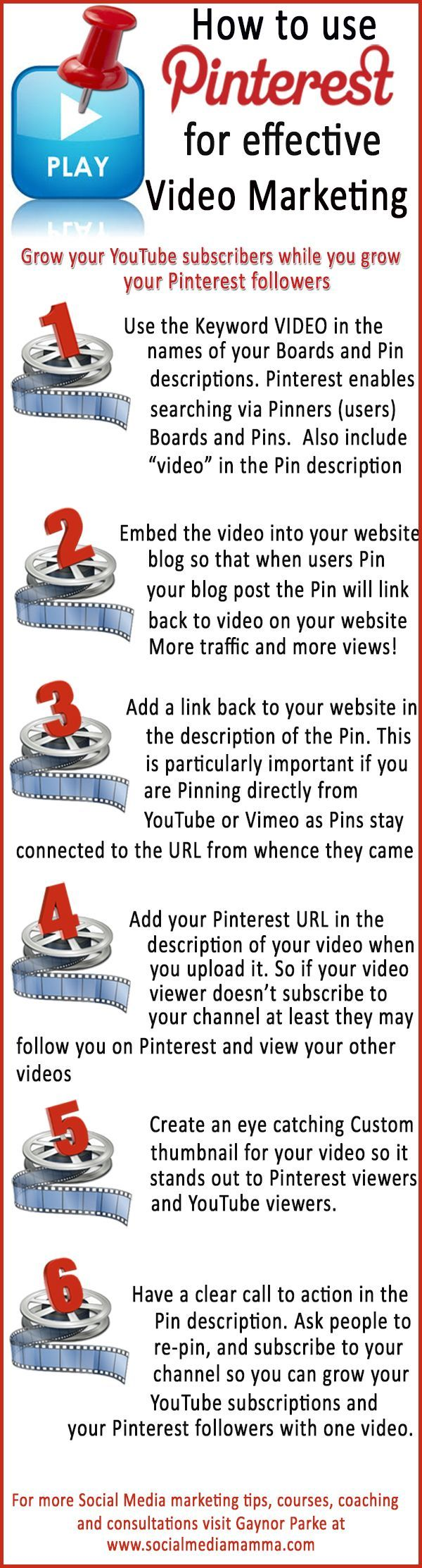 の♪♫ How to use #Pinterest to promote your videos and increase your YouTube subscribers #Videomarketing content marketing #infographic www.socialmediama...
