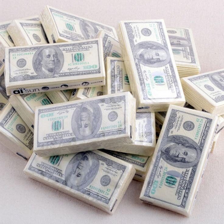 Dollarbankbiljet papier handdoeken tissue handdoeken creatieve persoonlijkheid afdrukken rollen tissue papieren zakdoeken dollar