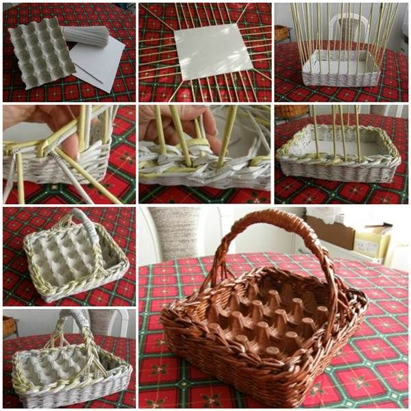 Woven Paper Easter Egg Basket and Tray #diy #craft #Easter