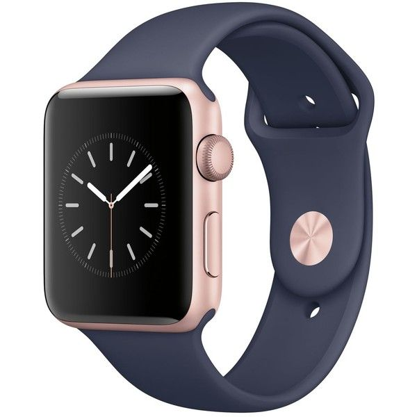 Apple Watch Series 2 42mm Rose Gold Aluminum Case with Midnight Blue... ($399) ❤ #FairfieldGrantsWishes