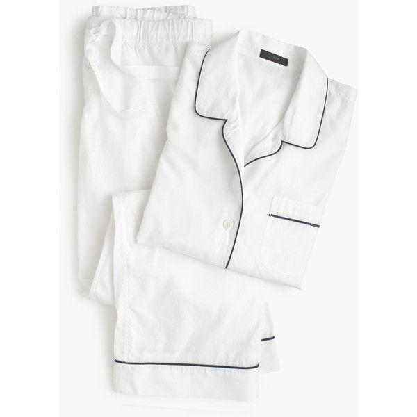 J.Crew Petite Vintage Pajama Set ($125) ❤ liked on Polyvore featuring intimates, sleepwear, pajamas, cotton pjs, long sleeve pjs, long sleeve pajama set, long sleeve pajamas and petite pajama sets