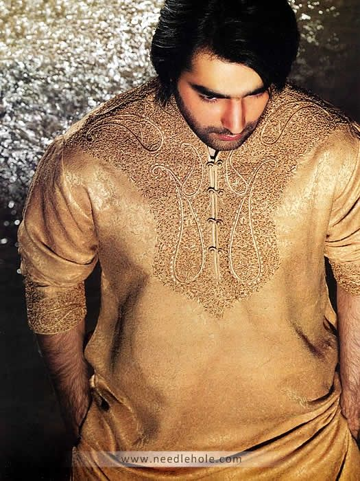 Jamawar Shalwar Kameez for Men, Embroidered Collar, Neck and Sleeves, Peach-Yellow