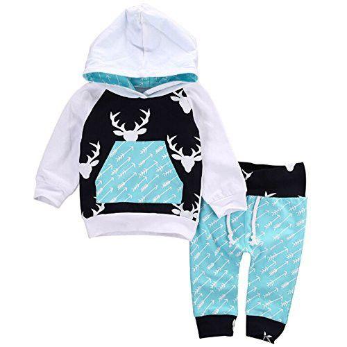 Newborn Kids Baby Boy Girl Clothes Set, Deer Hooded Tops+Pants Outfits (12-18 Months)