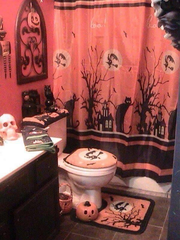 bathroom set up for halloween