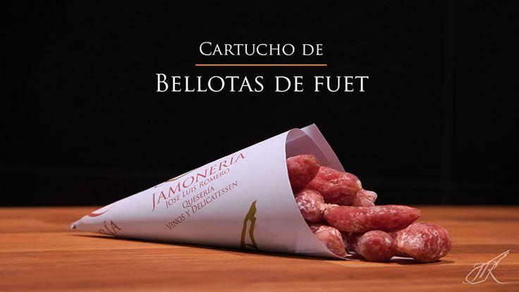 """Fuet """"accorns"""" Gourmet Cone. Jamonería José Luis Romero. Seville, Spain. // Cartucho de Bellotas de Fuet. Sevilla, España."""