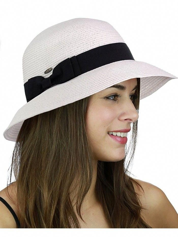 084eb29dd97 Women s Paper Woven Cloche Bucket Hat with Color Bow Band - White -  CW17Z2OK2UO - Hats
