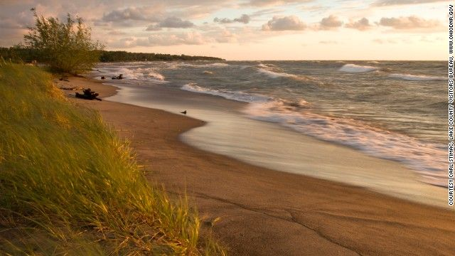 """CNN lists Ohio's longest public beach on Lake Erie as part of the its """"20 More Can't-Miss U.S. Beaches"""" -  Headlands Beach State Park, Mentor, Ohio"""