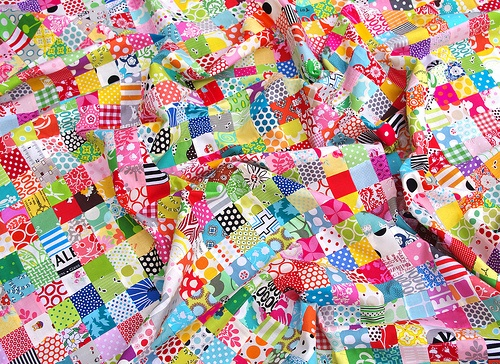 81 16-Patch Blocks  1296 patches of scrap fabric  A Postage Stamp Quilt top by @Rita - Red Pepper Quilts