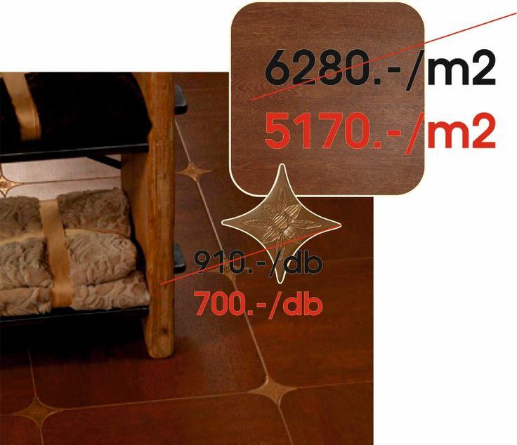 AZULEV(Spanyol) - COPPERWOOD:  Copperwood octogonales 45x45 cm padlólap - Estrella charme bronce 6,7x6,7 cm padló dekor