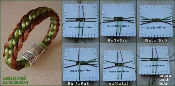 KUMIHIMO http://creacionesbatiburrillo.blogspot.com.es/2013/10/kumihimo-xxvii-otra-trenza-plana.html