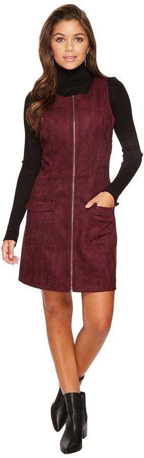 BB Dakota Havens Faux Suede Scuba Zip Front Dress Women's Dress