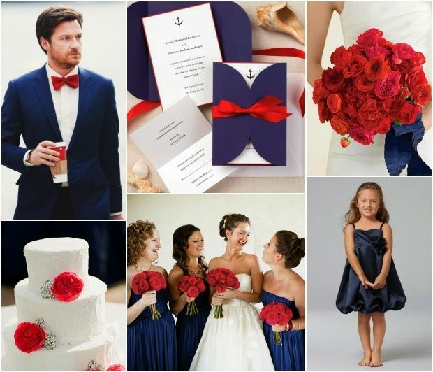Navy and Red Wedding Inspiration. I love this because it's both me and Eddy's favorite colors. :)