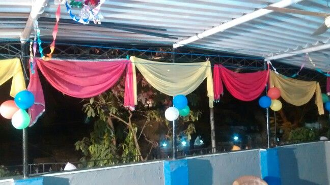 Decoration with dupatta terrace decoration for party for Terrace party decoration
