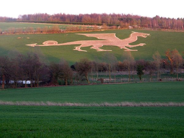 A hill carving of the legendary dragon that terrorized the village of Bures in the Middle Ages.