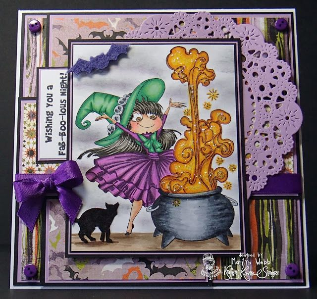 """My Best Friends are Witches"" stamp set from Kraftin Kimmie, colored by Marilyn's Cards and More: Kraftin' Kimmie Stamps - Buttons and Bows Challenge"