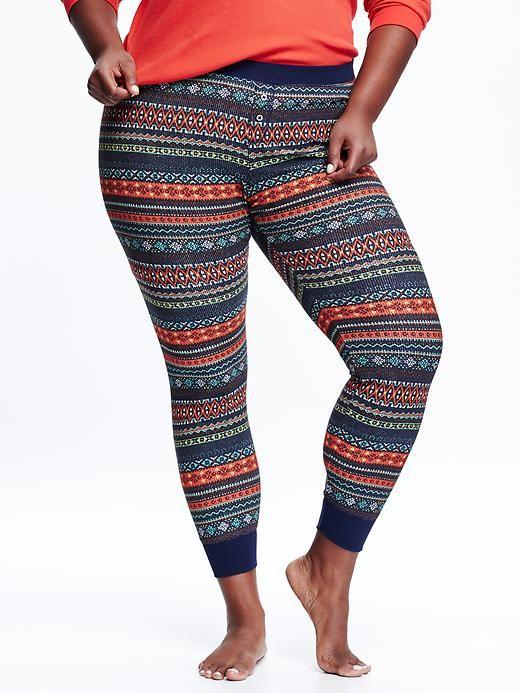 Women's Plus Waffle-Knit Patterned Leggings Product Image.   Multi print