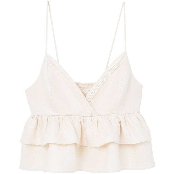 Ruffled Linen Top (1,680 PHP) ❤ liked on Polyvore featuring tops, crop top, shirts, tank tops, white ruffle shirt, white v neck tank top, white crop tank, cropped shirts and white v neck shirt