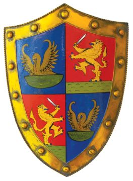 """Irish Coat of Arms Warrior Shield - Gold. In medieval times, not every man was a knight, but every man had to know how to fight. Celebrate your ancestors fighting spirit with our Warrior Shield, distinguished with the historical Irish Coat of Arms granted to your family surname. The life-size (25""""h x 18""""w) metal shield is surprisingly light, allowing for easy mobility whether on foot, horseback or wall display."""