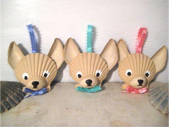 Mini Chihuahua Ornaments Set of 3. Hand painted by Lorishellart, $40.00