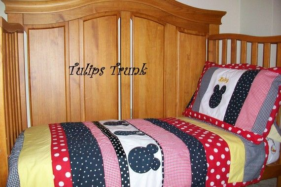 Etsy seller Tulips Trunk - Crib or Toddler quilt set includes quilt & pillowcase.  Can also make custom bumpers & valances.