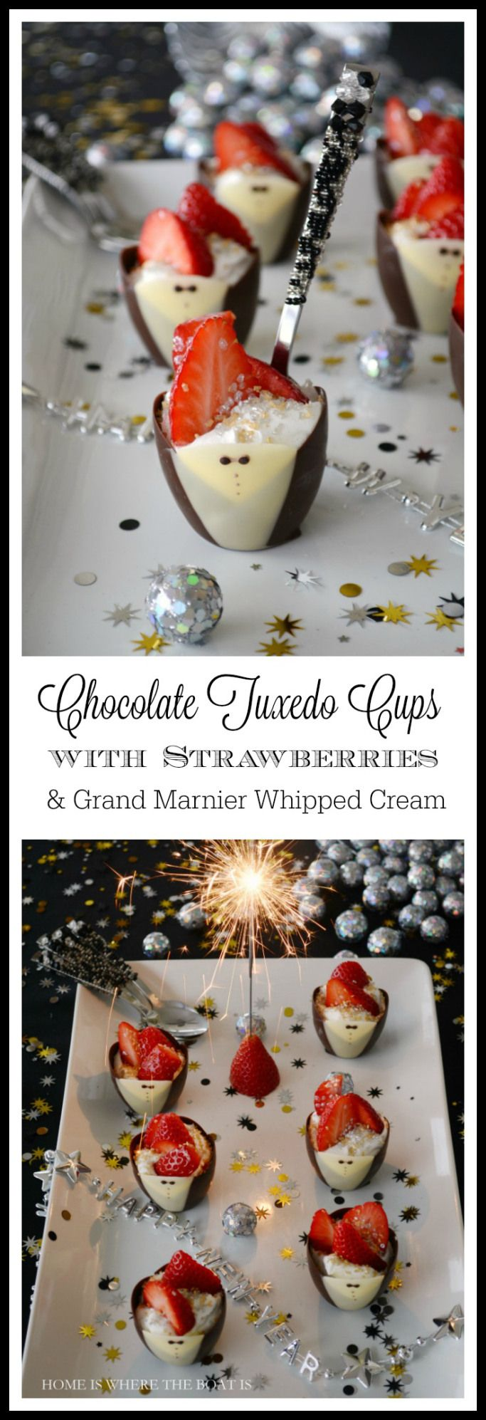 Chocolate Tuxedo Cups with Strawberries and Grand Marnier Whipped Cream! A festive, sweet bite for New Year's Eve! #dessert