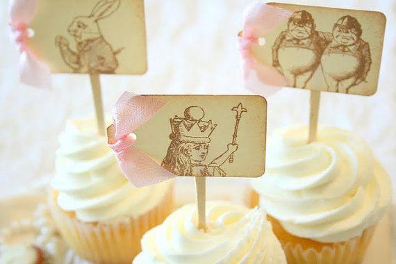 Alice in Wonderland Cupcake Toppers / Food by seasonaldelights, $18.00