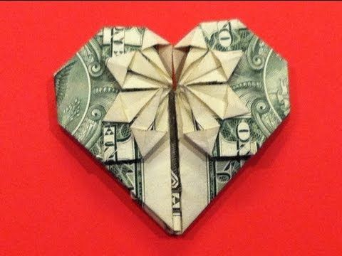 Origami Dollar Heart & Star How to make a Dollar heart with star - YouTube