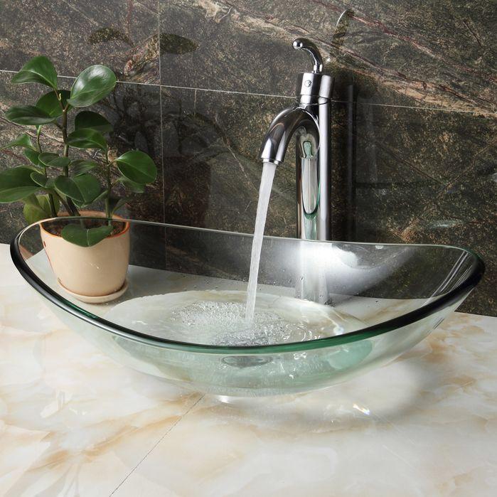 Tempered Glass Boat Shaped Bowl Vessel Bathroom Sink                                                                                                                                                                                 More