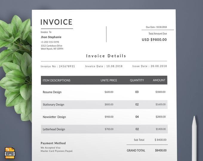 Invoice Template 05 Receipt Template Invoice Template For Etsy Invoice Template Invoice Design Invoice Design Template