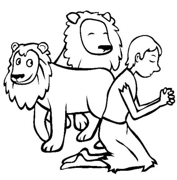 Daniel Pray In And The Lions Den Coloring Page
